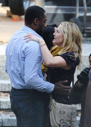 Kate Winslet and Idris Elba on the set of 'The Mountain Between Us' in Vancouver