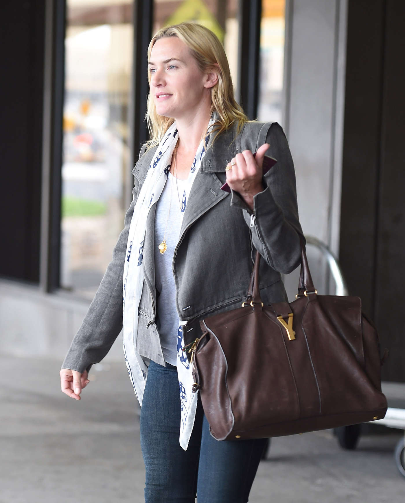 Kate Winslet in Jeans at JFK airport in NYC