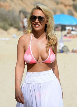 Kate Wright in Bikini Top Filming 'The Only Way is Essex' on Magaluf Beach