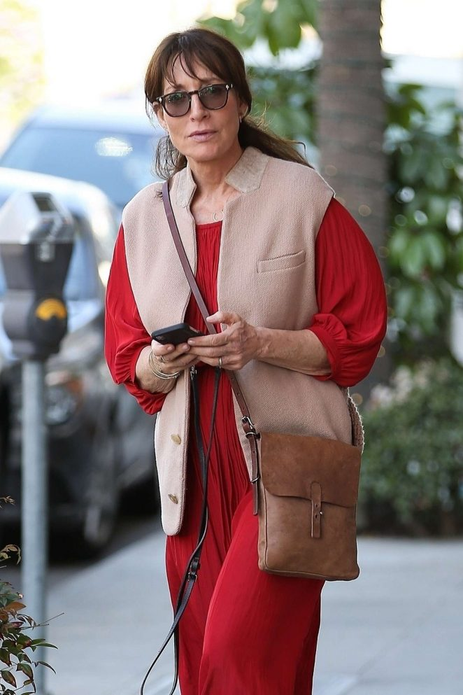 Katey Sagal in Red Dress Shopping in Beverly Hills