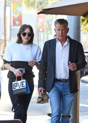 Katharine Mcphee and David Foster - Leaves Il Pastaio Restaurant in Beverly Hills