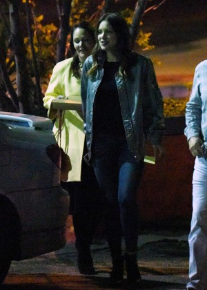 Katharine McPhee at a family dinner in Los Angeles