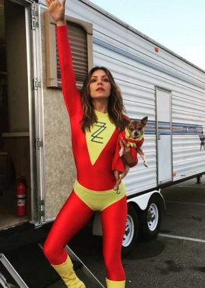 Katharine McPhee Dressed as a Super Hero on the Set of Scorpion - Instagram