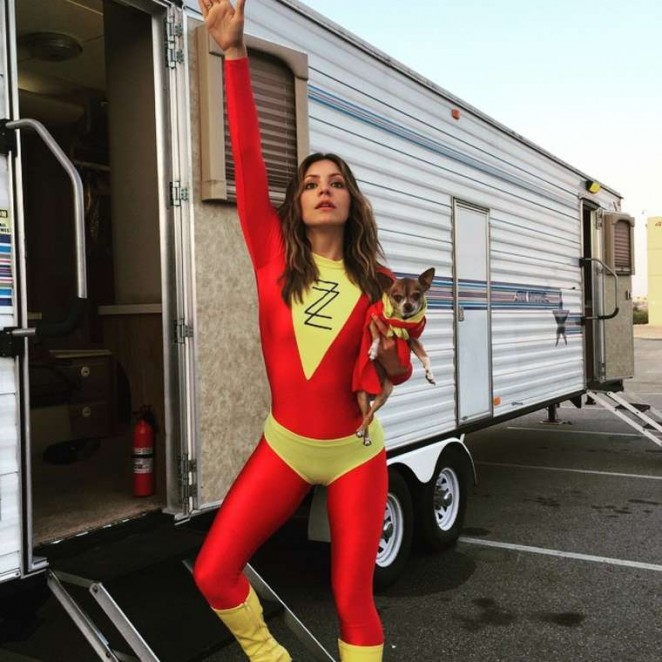 Katharine McPhee Dressed as a Super Hero on the Set of Scorpion - Instagram