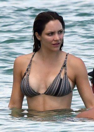 Katharine McPhee in a Bikini at the Beach in Miami