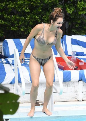 Katharine McPhee in Bikini at a pool in Miami