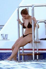 Katharine McPhee in Black Bikini on the yacht in Capri