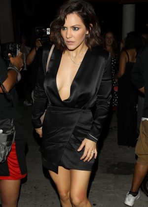 Katharine McPhee in Black Mini Dress at Craig's in West Hollywood