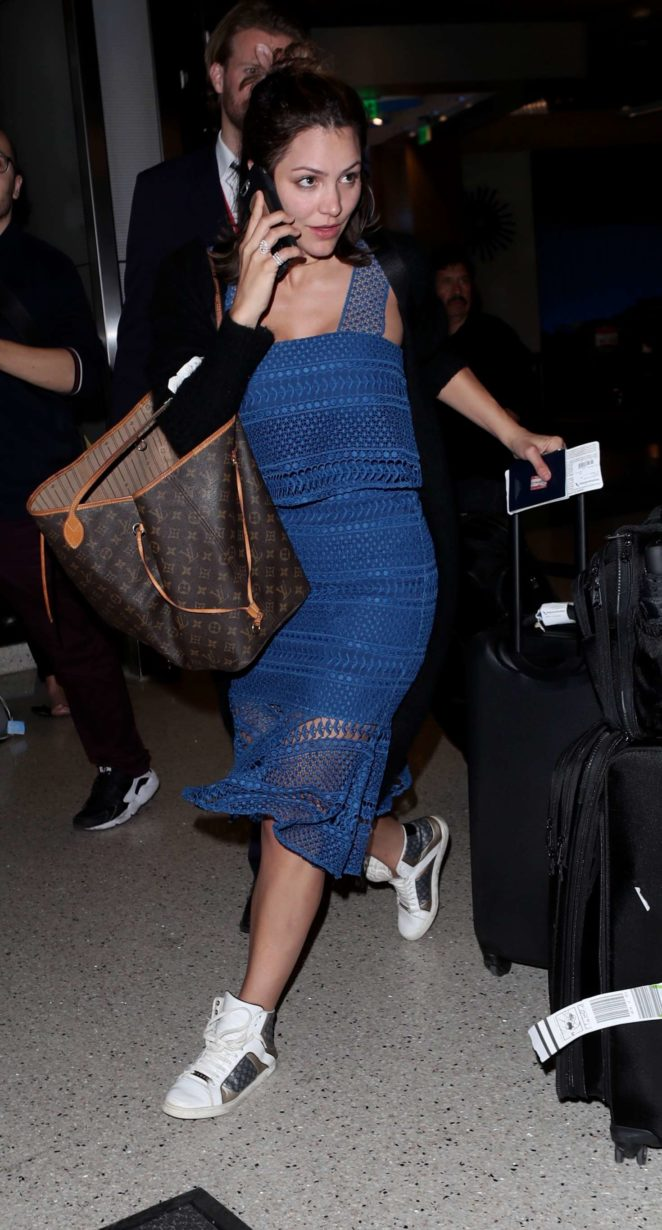 Katharine McPhee in Blue Dress at LAX Airport in Los Angeles