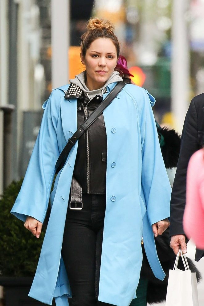 Katharine McPhee in Light Blue Trench Coat out in New York