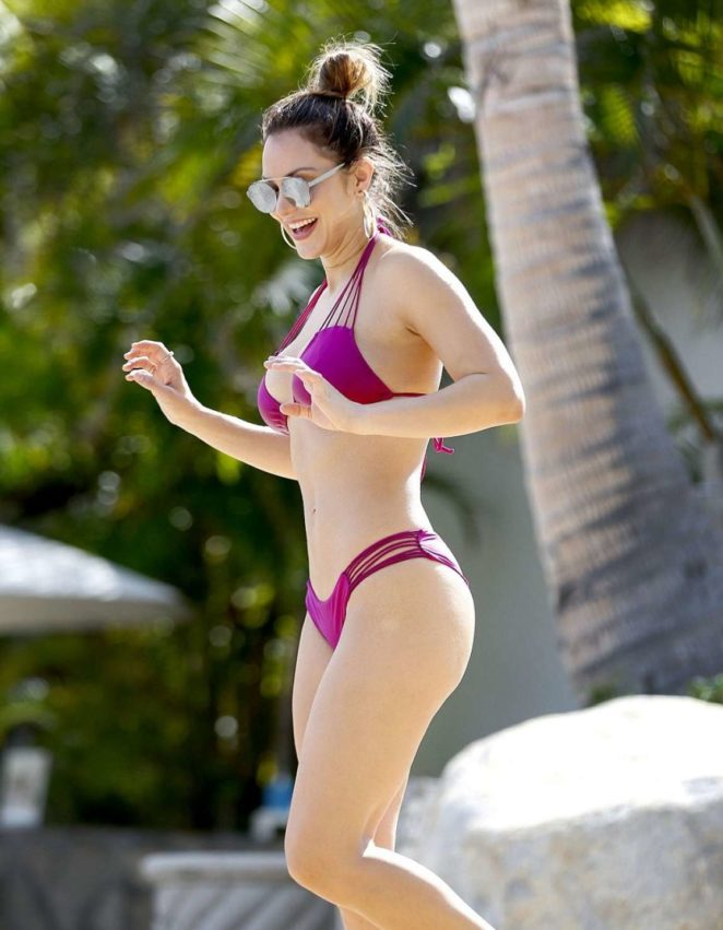 Katharine McPhee in Purple Bikini on the pool in Mexico