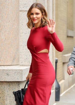 Katharine McPhee in Red Dress at ABC Studios in New York