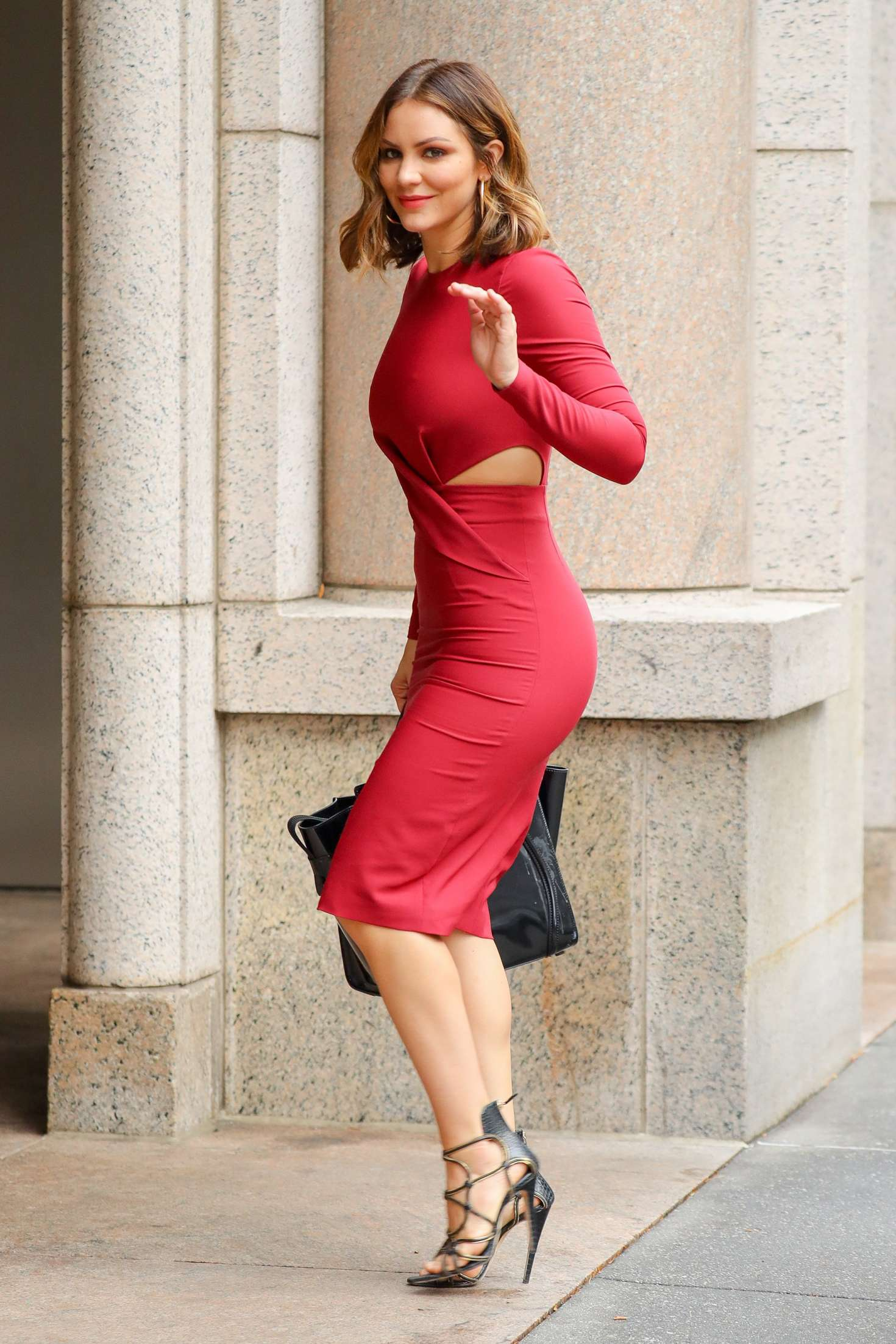 Katharine McPhee in Red Dress at ABC Studios in New York ...