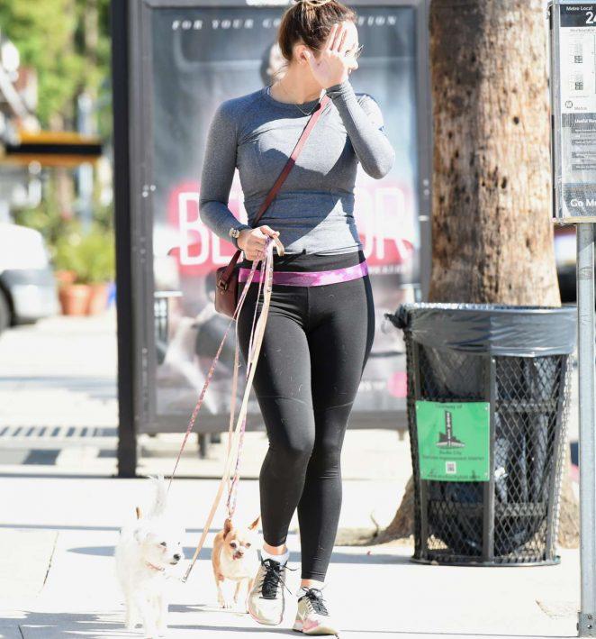 Katharine McPhee in Tights walks her dogs in Los Angeles