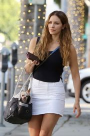 Katharine McPhee in White Mini Skirt - Out in Beverly Hills