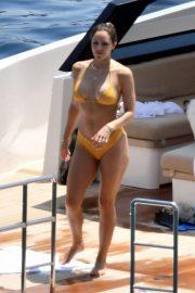 Katharine McPhee in Yellow Bikini on a yacht in Capri