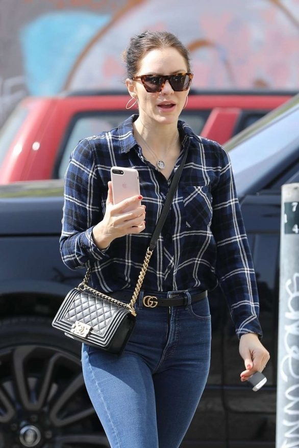 Katharine McPhee - On phone while out in West Hollywood