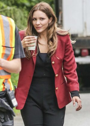 Katharine McPhee on set of 'The Lost Wife of Robert Durst' in Vancouver