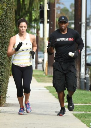 Katharine McPhee - Training Run With a Friend in Los Angeles