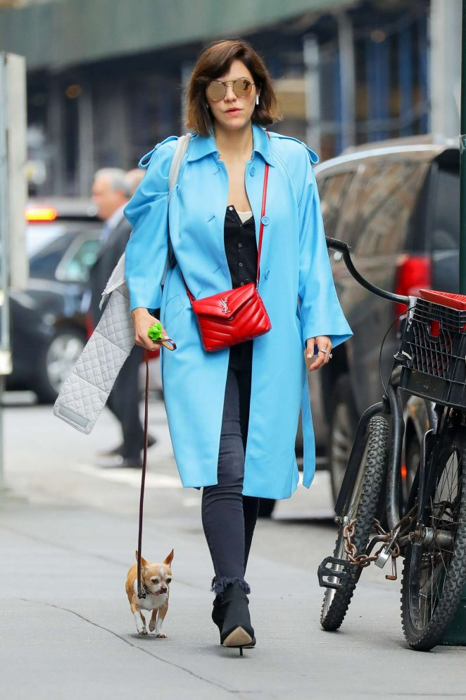 Katharine McPhee with her dog in New York City
