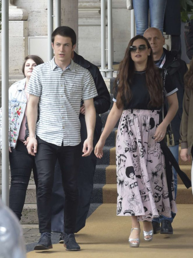 Katherine Langford and Dylan Minnette - Leave their hotel in Rome