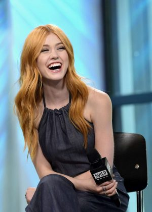 Katherine McNamara at AOL BUILD Studios for an interview in NYC