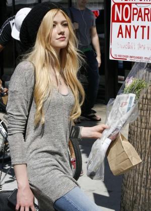 Katherine McNamara in Jeans at Farmers Market in Studio City