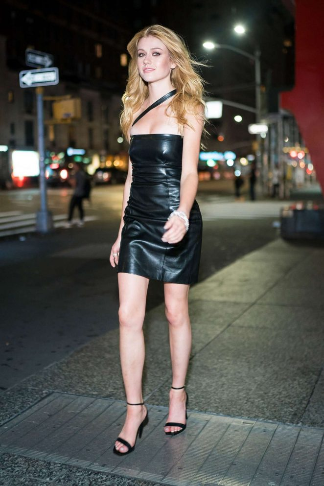 Katherine McNamara in Black Leather Dress - Out in NYC