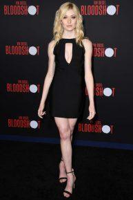 Katherine McNamara in black midi dress at 'Bloodshot' premiere in Los Angeles