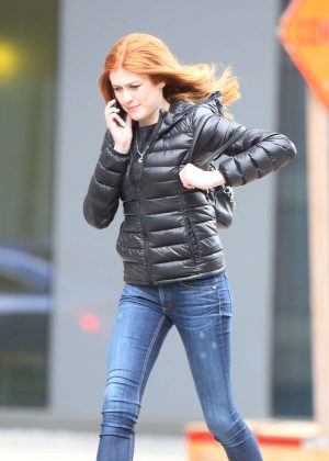 Katherine McNamara on King Street West in Toronto