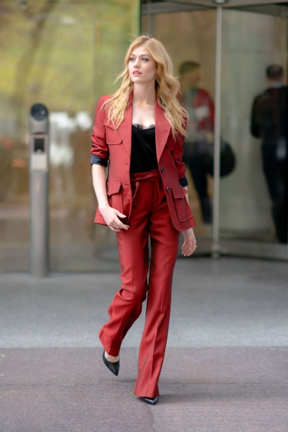 Katherine McNamara - Wearing a Natalie Tre suit in NY