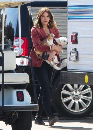 Katherine McPhee - With her dogs Wilmer and Lady on the set of 'Scorpion' in Los Angeles