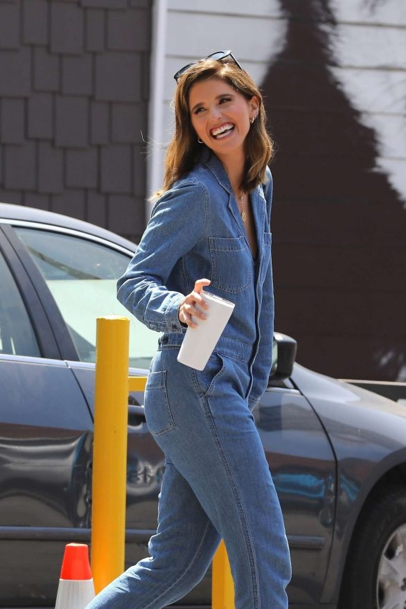 Katherine Schwarzenegger in jeans jumpsuit leaves a pet adoption animal shelter in Los Angeles