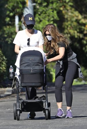 Katherine Schwarzenegger with mom Maria Shriver and newborn baby Lyla out in Brentwood
