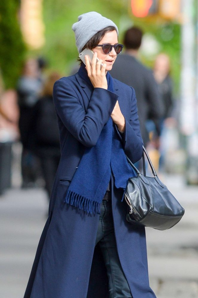 Katherine Waterston in Long Coat out in New York