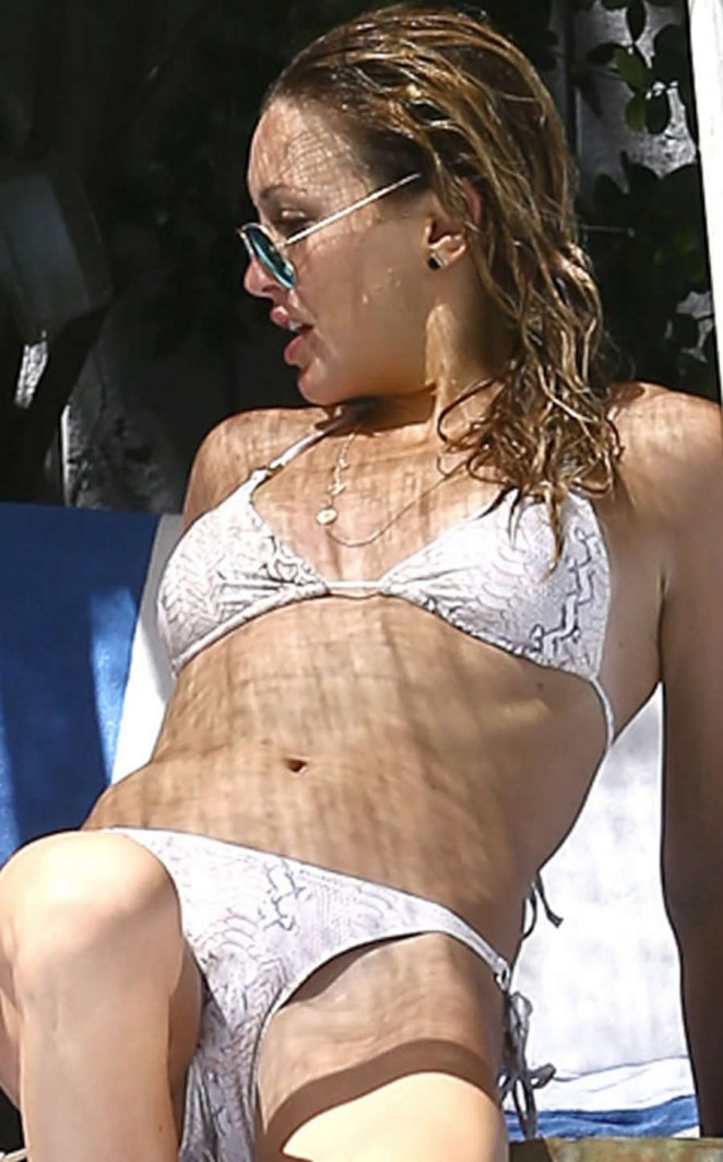 Katie Cassidy in a Bikini at a Pool in Miami