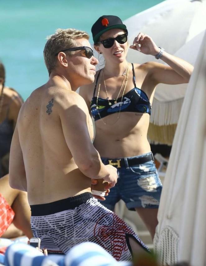 Katie Cassidy in Bikini Top at the beach in Miami