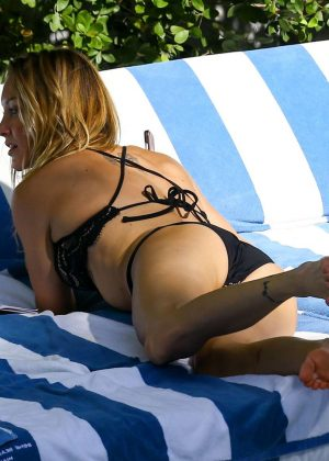 Katie Cassidy in Black Bikini at the pool in Miami