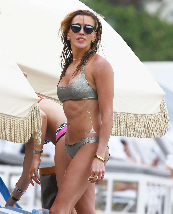 Katie Cassidy in Silver Bikini in Miami