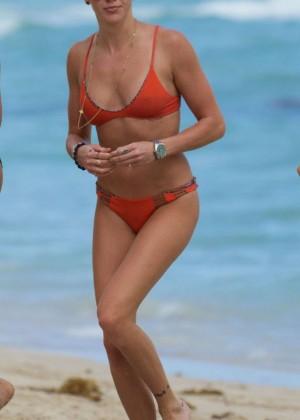 Katie Cassidy in Orange Bikini -18