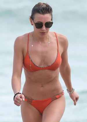 Katie Cassidy in Orange Bikini in Miami