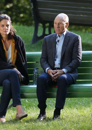 Katie Holmes and Patrick Stewart - Filming 'The Gift' set in Montreal