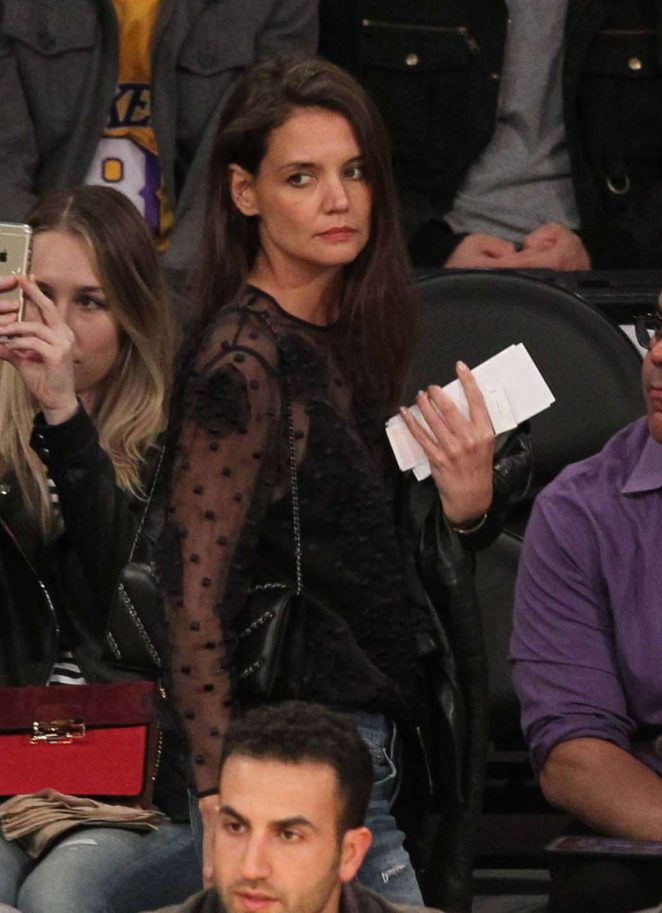 Katie Holmes at Lakers Game in Los Angeles