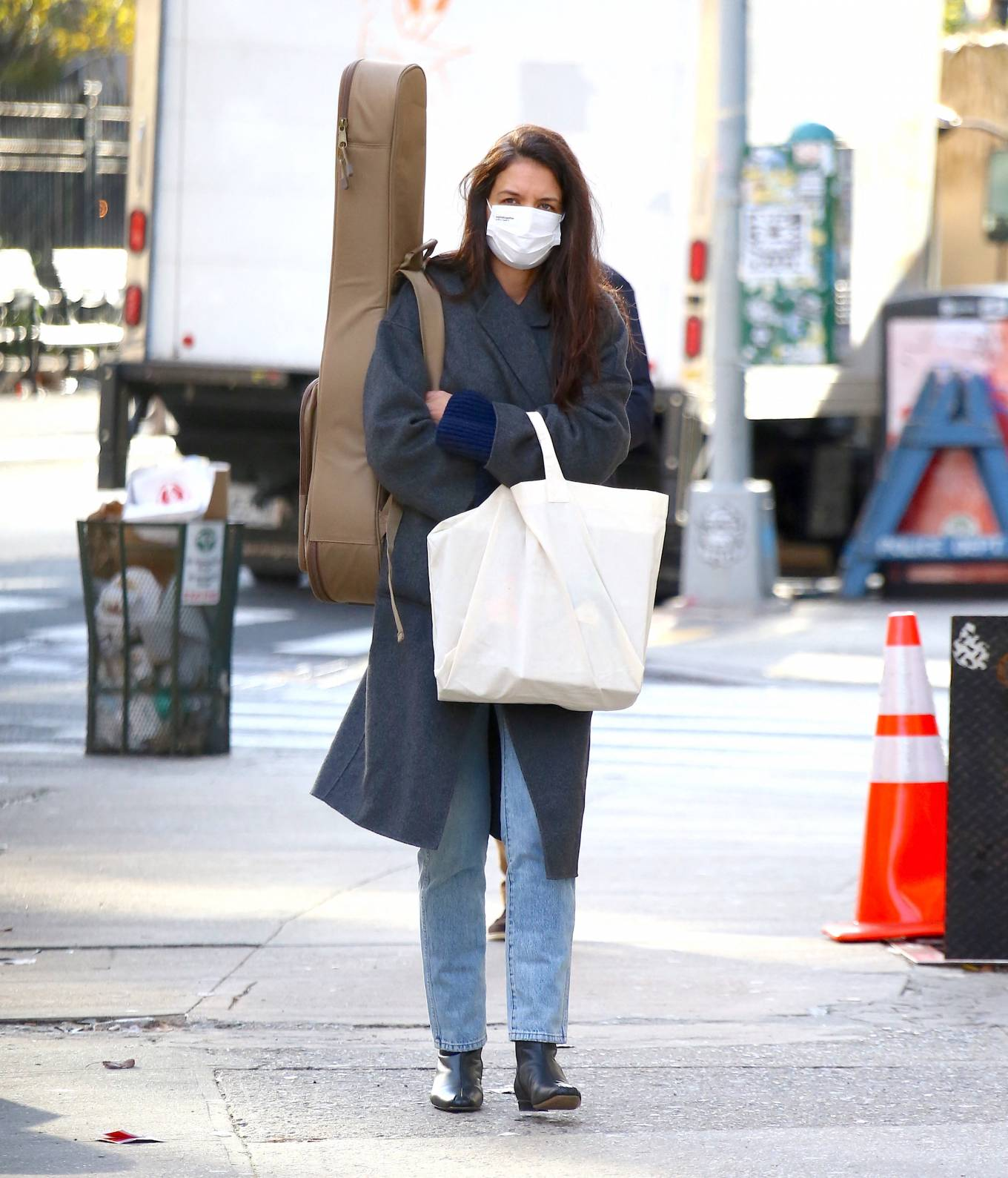 Katie Holmes 2020 : Katie Holmes – Christmas shopping at the store Rudys Music in Soho-08