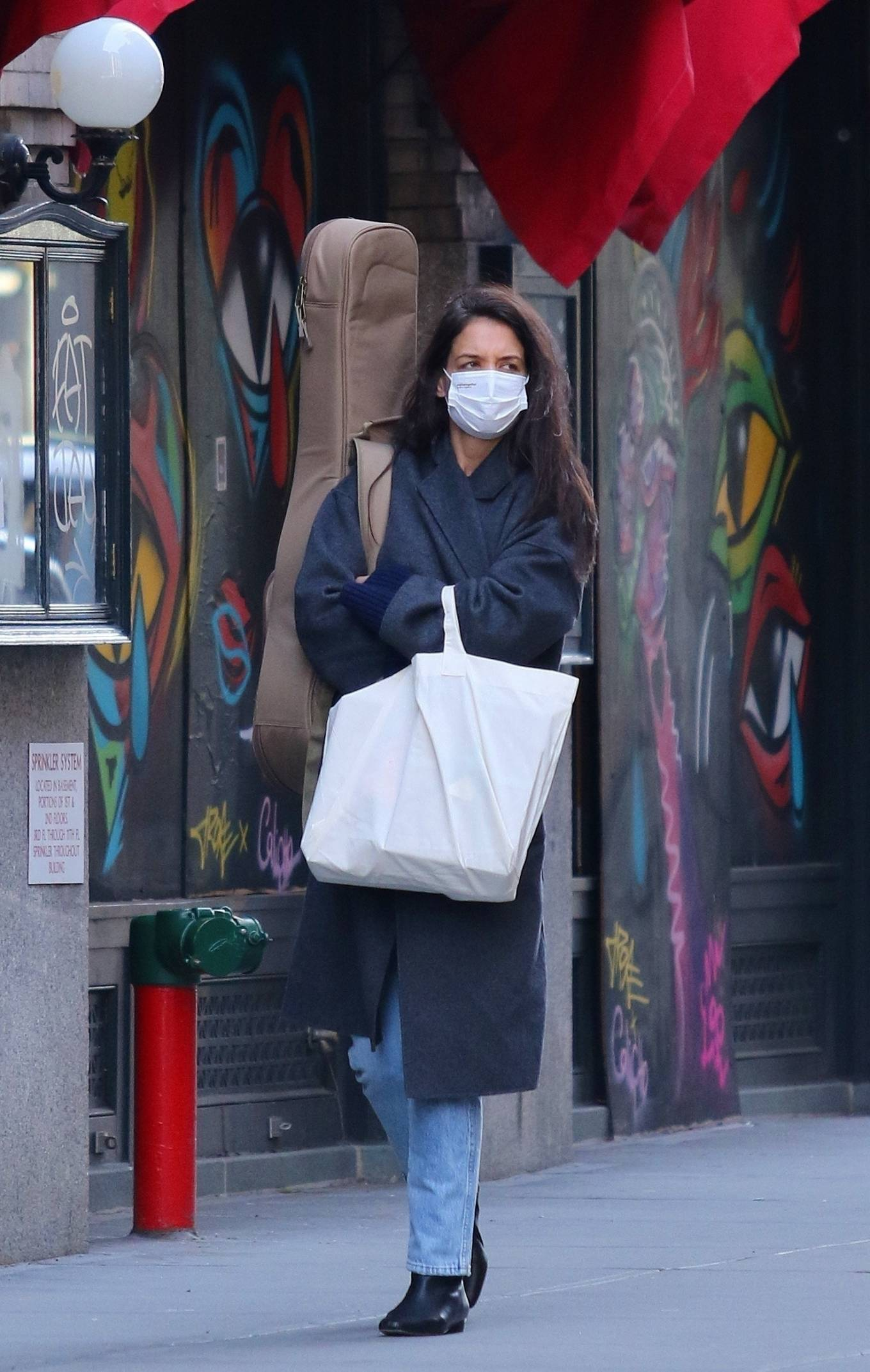 Katie Holmes 2020 : Katie Holmes – Christmas shopping at the store Rudys Music in Soho-28