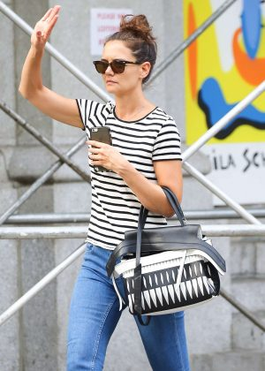 Katie Holmes hails a cab in New York City