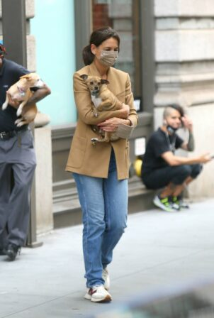 Katie Holmes - Heads out of town with her dogs in New York