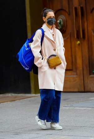 Katie Holmes - In a pink coat as she out for shopping at Ritual Vintage