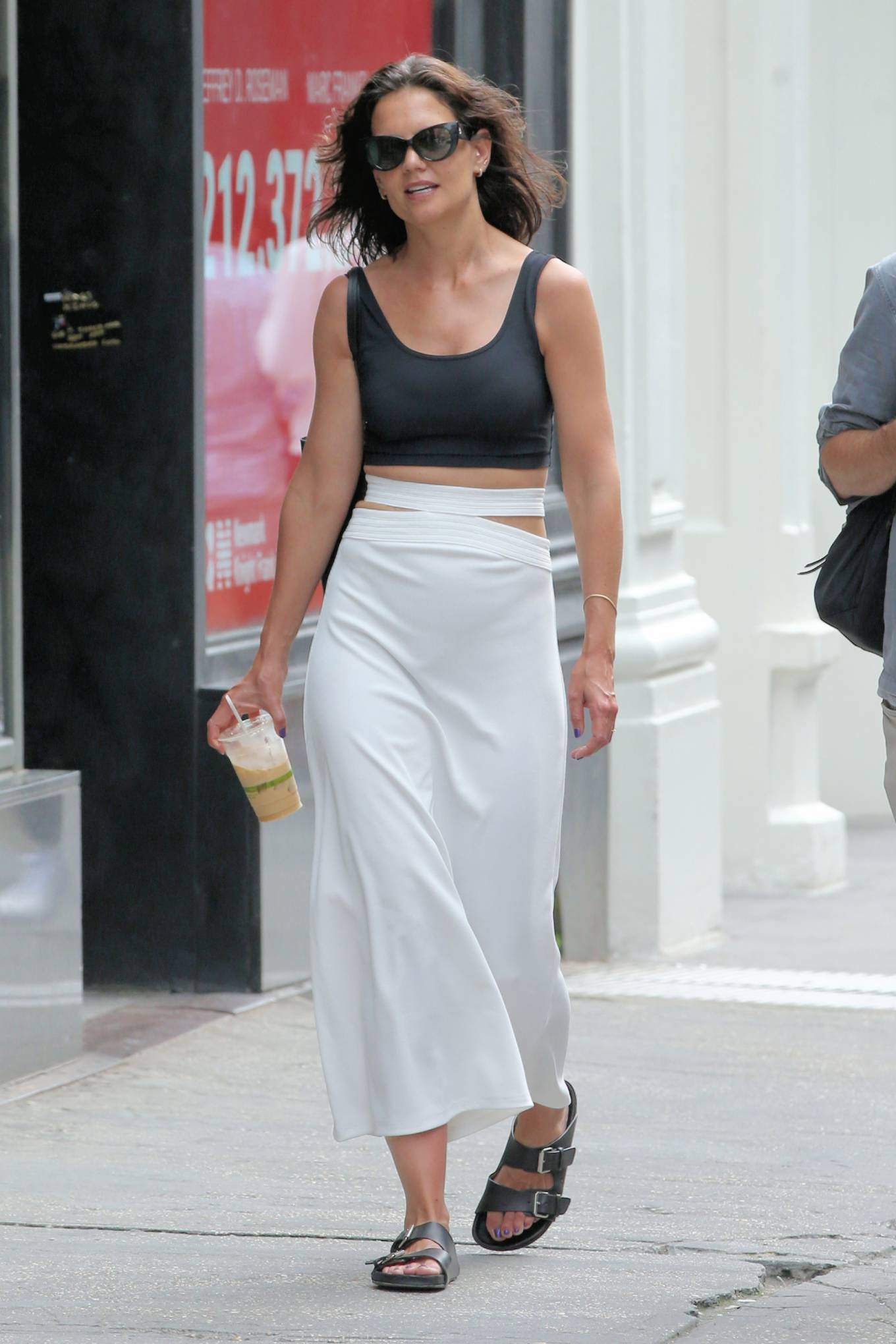 Katie Holmes - In a white maxi skirt out in New York
