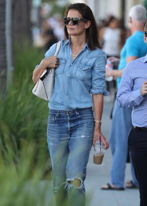 Katie Holmes in all denim shopping in Beverly Hills